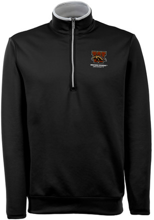 Antigua Western Michigan Broncos Mens Black Leader 1/4 Zip Pullover