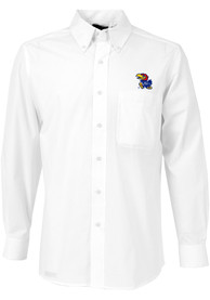 Antigua Kansas Jayhawks White Dynasty Dress Shirt