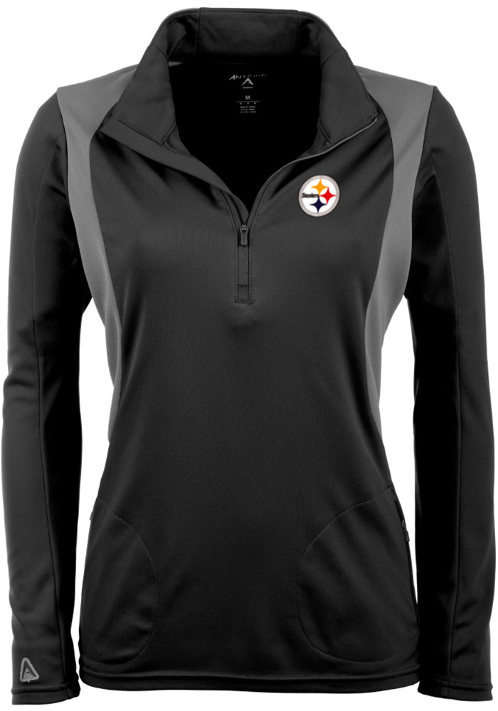 Antigua Pitt Steelers Womens Black Delta 1/4 Zip Pullover, Black, 100% POLYESTER, Size L