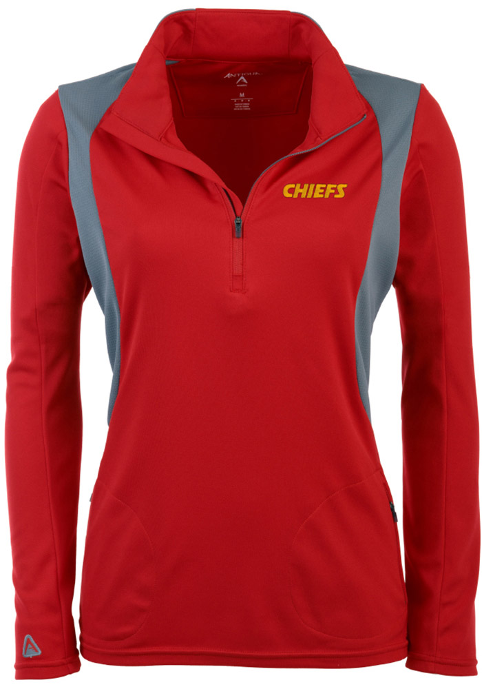 Antigua KC Chiefs Womens Delta Red 14 Zip Performance Pullover 3232669