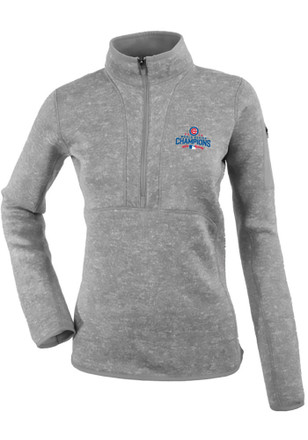 Antigua Chicago Cubs Womens Fortune Grey 1/4 Zip Pullover