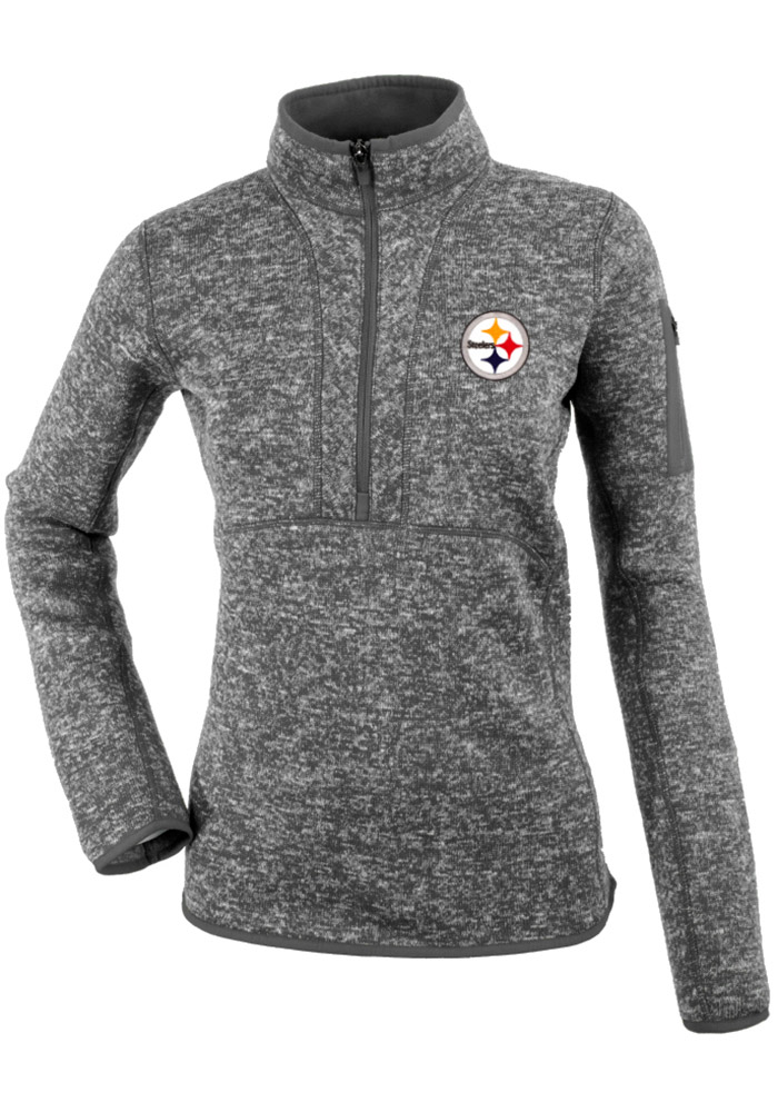 Antigua Pittsburgh Steelers Womens Grey Fortune 1/4 Zip Pullover, Grey, 100% POLYESTER, Size L