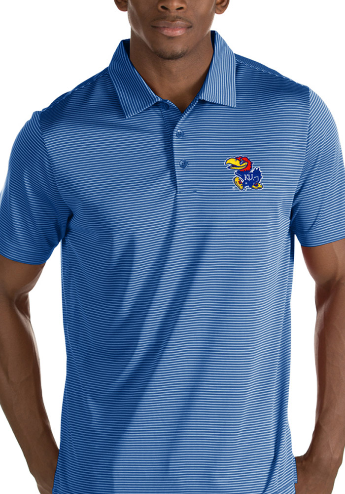 Antigua Kansas Jayhawks Mens Blue Quest Short Sleeve Polo - Image 1