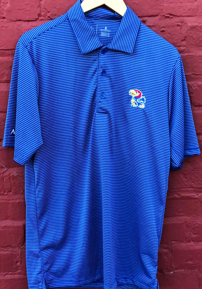 Antigua Kansas Jayhawks Mens Blue Quest Short Sleeve Polo - Image 2