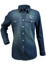 Kansas City Royals Womens Antigua Chambray Dress Shirt - Light Blue
