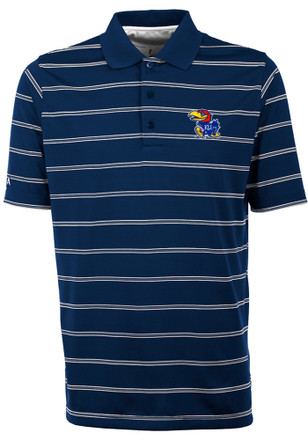 Antigua Kansas Jayhawks Mens Blue Deluxe Short Sleeve Polo Shirt