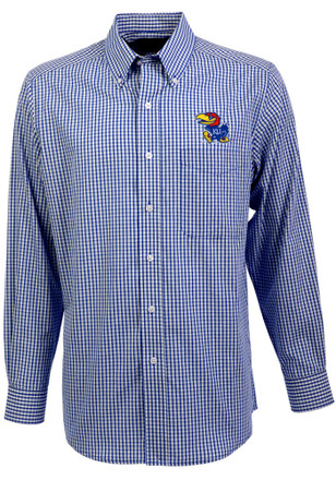 Antigua Kansas Jayhawks Mens Blue Associate Dress Shirt