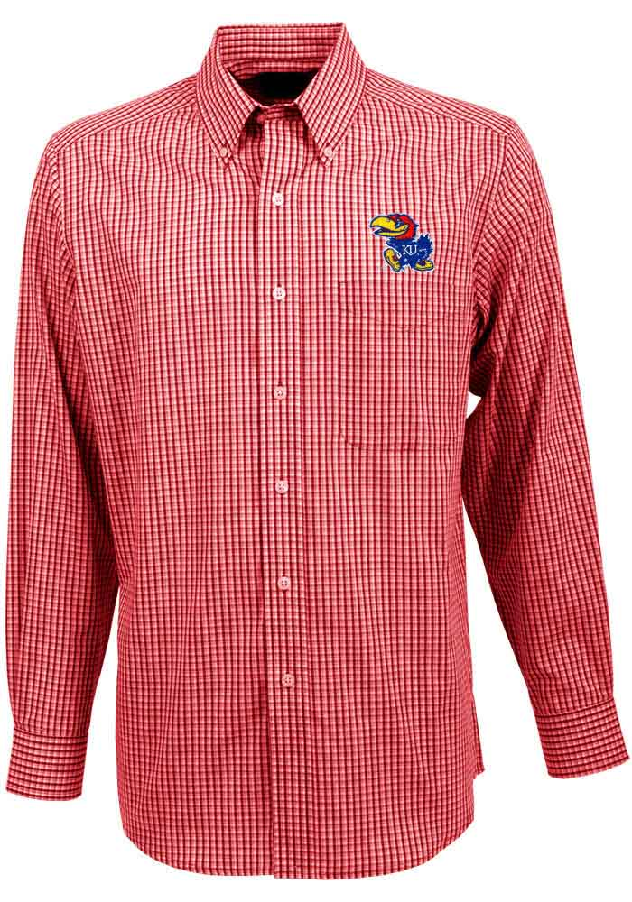 Antigua Kansas Jayhawks Mens Red Associate Long Sleeve Dress Shirt - Image 1