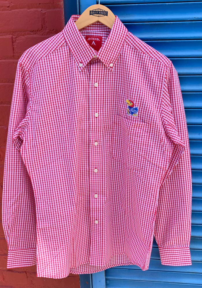 Antigua Kansas Jayhawks Mens Red Associate Long Sleeve Dress Shirt - Image 2