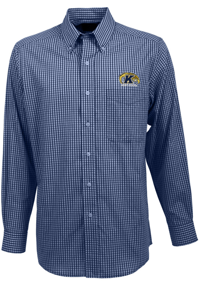 Antigua Kent State Golden Flashes Mens Navy Blue Associate Long Sleeve Dress Shirt, Navy Blue, 60% COTTON / 40% POLYESTER, Size L
