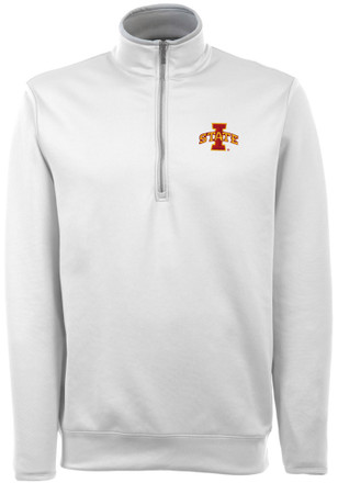 Antigua Iowa State Cyclones Mens White Adept 1/4 Zip Pullover