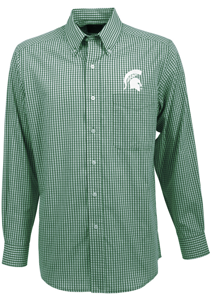 Antigua Michigan State Spartans Mens Green Associate Long Sleeve Dress Shirt - Image 1