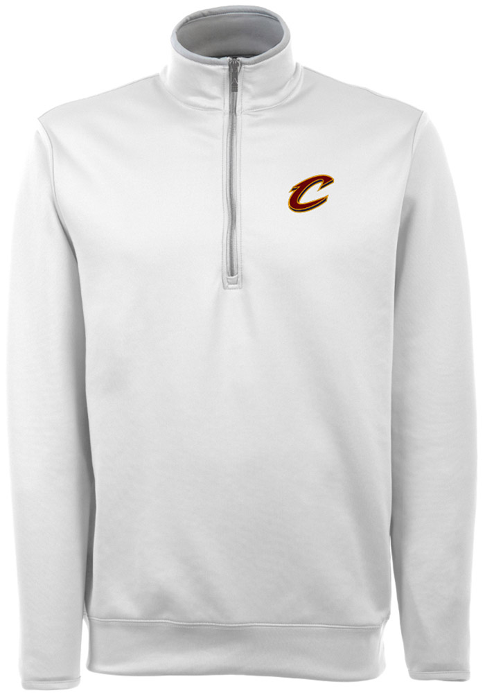 Antigua Cleveland Cavaliers Mens White Leader Long Sleeve 1/4 Zip Pullover - Image 1
