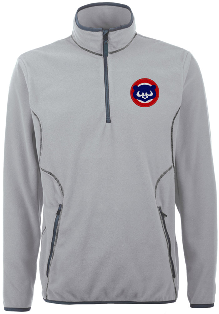 Antigua Chicago Cubs Mens Grey Ice Long Sleeve 1/4 Zip Pullover - Image 1