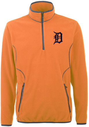Antigua Detroit Tigers Mens Orange Ice 1/4 Zip Pullover