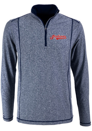 Antigua Cleveland Indians Mens Navy Blue Tempo 1/4 Zip Pullover