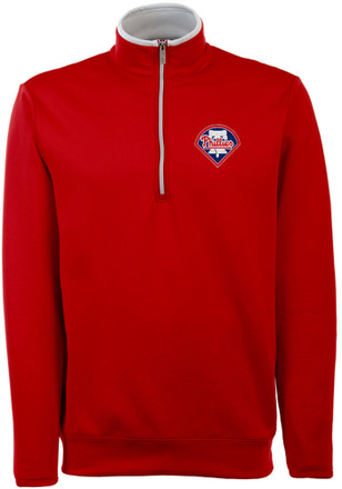 Antigua Philadelphia Phillies Mens Red Leader 1/4 Zip Pullover