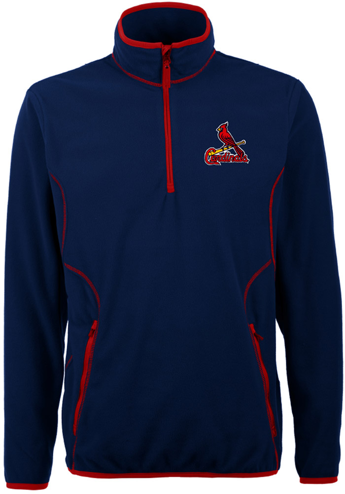 Antigua St Louis Cardinals Mens Navy Blue Ice Long Sleeve 1/4 Zip Pullover - Image 1