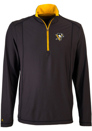 Antigua Pittsburgh Penguins Mens Black Tempo 1/4 Zip Pullover