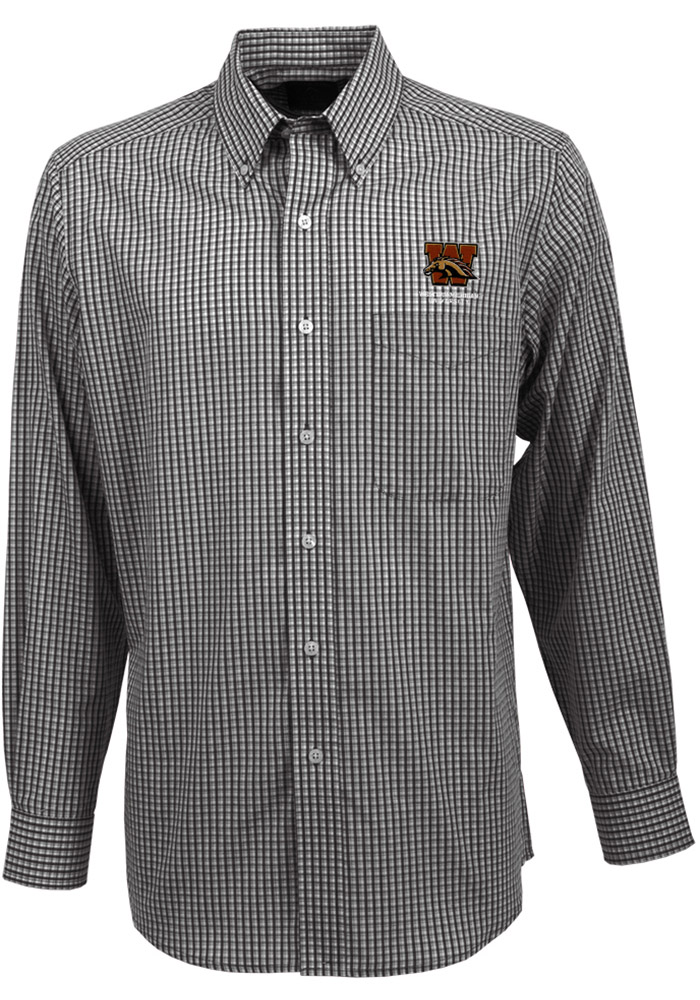 Antigua Western Michigan Broncos Mens Black Associate Long Sleeve Dress Shirt - Image 1