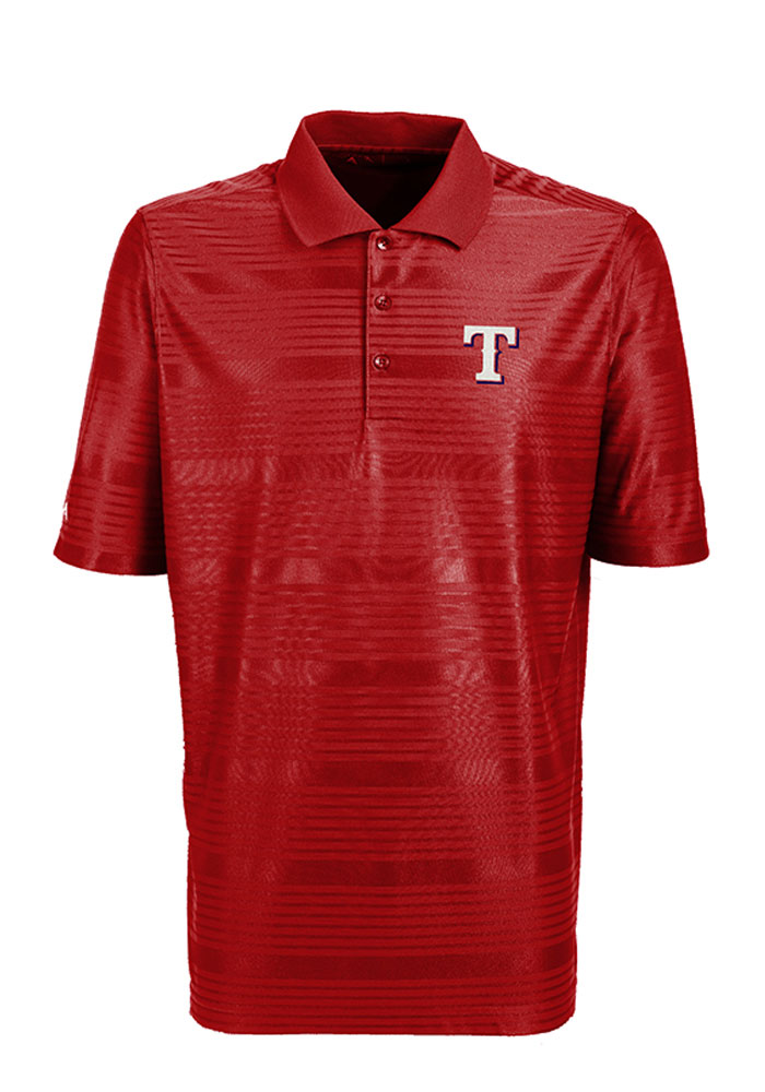 Antigua Texas Rangers Mens Red Illusion Short Sleeve Polo - Image 1