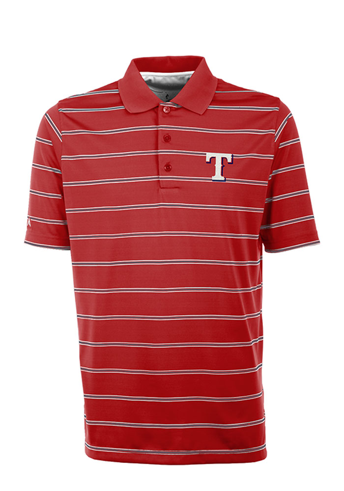 Antigua Texas Rangers Mens Red Deluxe Short Sleeve Polo - Image 1