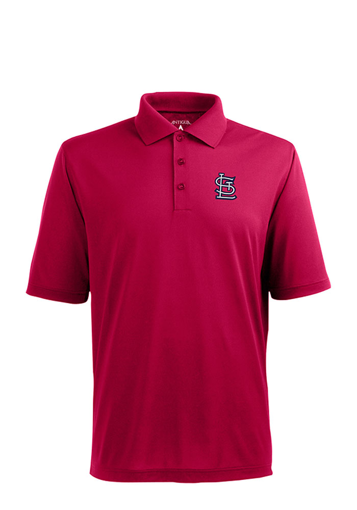 Antigua St Louis Cardinals Mens Red Xtra-Lite Short Sleeve Polo - Image 1
