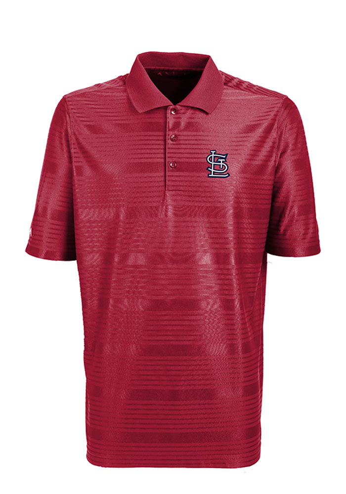 Antigua St Louis Cardinals Mens Red Illusion Short Sleeve Polo - Image 1
