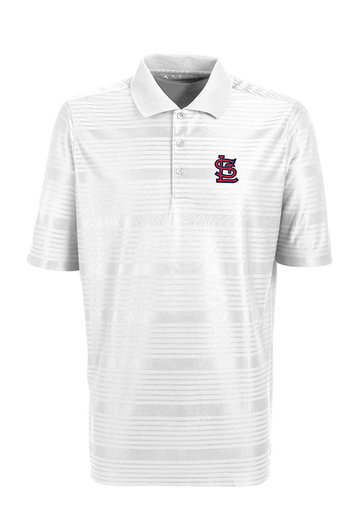 Antigua St Louis Cardinals Mens White Illusion Short Sleeve Polo - Image 1