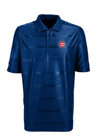 Antigua Chicago Cubs Mens Blue Illusion Short Sleeve Polo Shirt