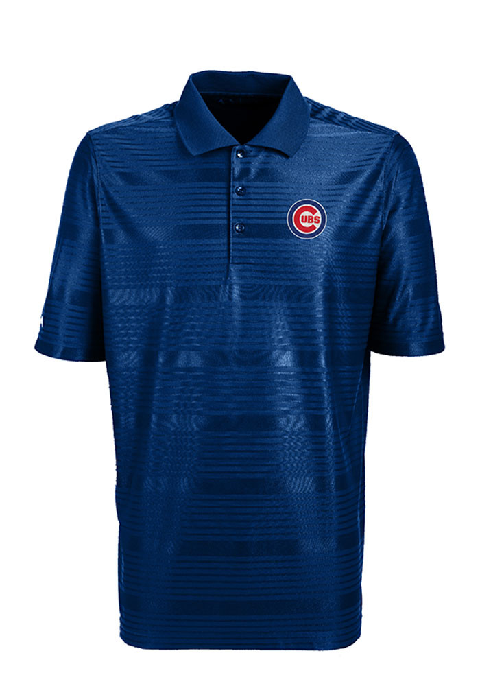 Antigua Chicago Cubs Mens Blue Illusion Short Sleeve Polo - Image 1