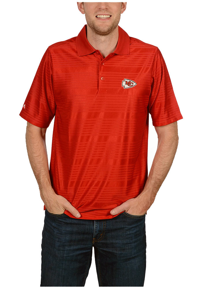 Antigua Kansas City Chiefs Mens Red Illusion Short Sleeve Polo - Image 1