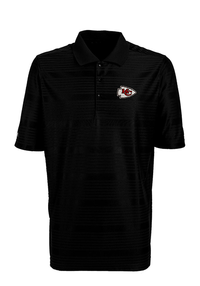 Antigua Kansas City Chiefs Mens Black Illusion Short Sleeve Polo - Image 1