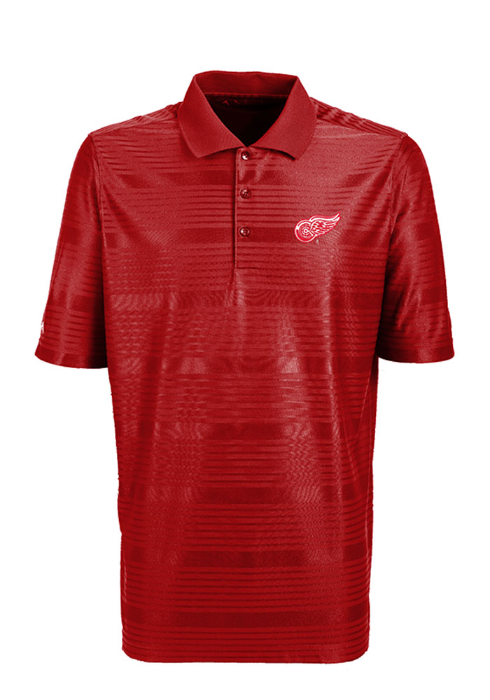 Antigua Detroit Red Wings Mens Red Illusion Short Sleeve Polo - Image 1