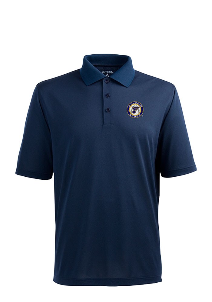 Antigua St Louis Blues Mens Navy Blue Xtra-Lite Short Sleeve Polo - Image 1