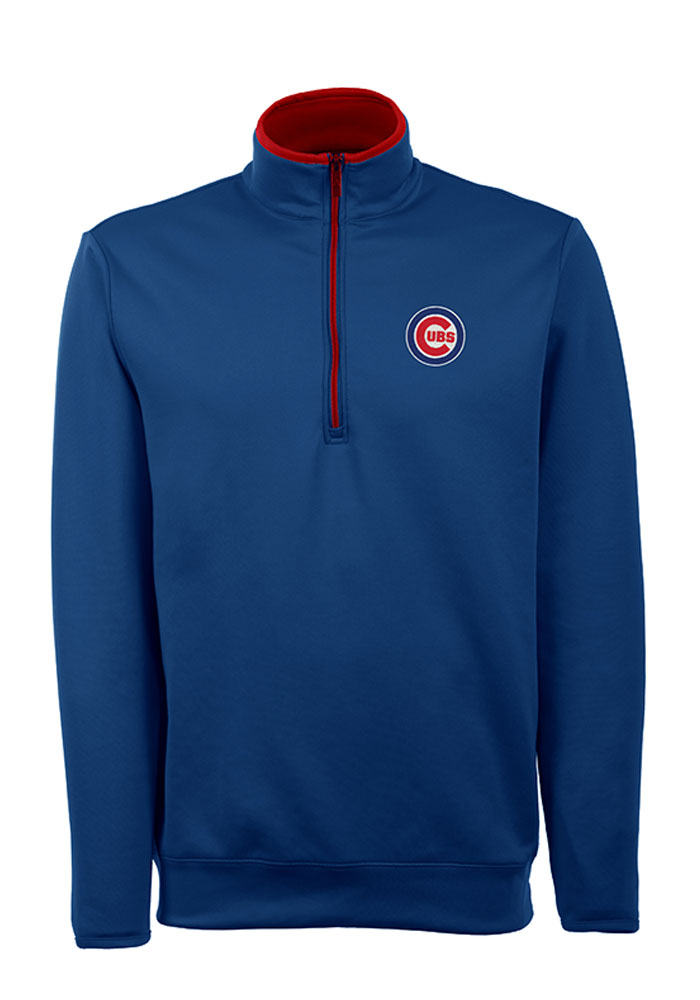Antigua Chicago Cubs Mens Blue Leader Long Sleeve 1 4 Zip Pullover - Image 1 d8287b174