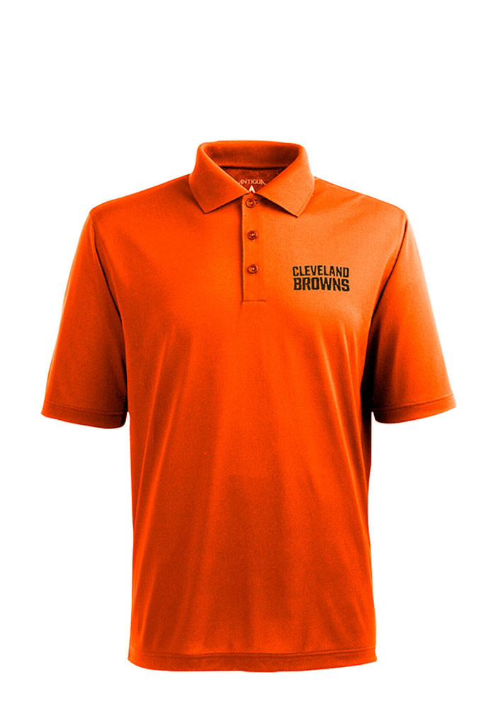 Antigua Cleveland Browns Mens Orange Xtra-Lite Short Sleeve Polo - Image 1