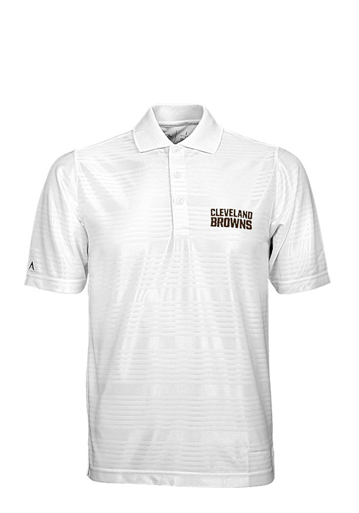 Antigua Cleveland Browns Mens White Illusion Short Sleeve Polo - Image 1