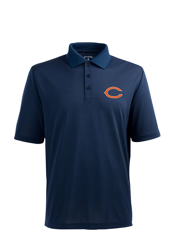 Antigua Chicago Bears Mens Navy Blue Pique Short Sleeve Polo - Image 1