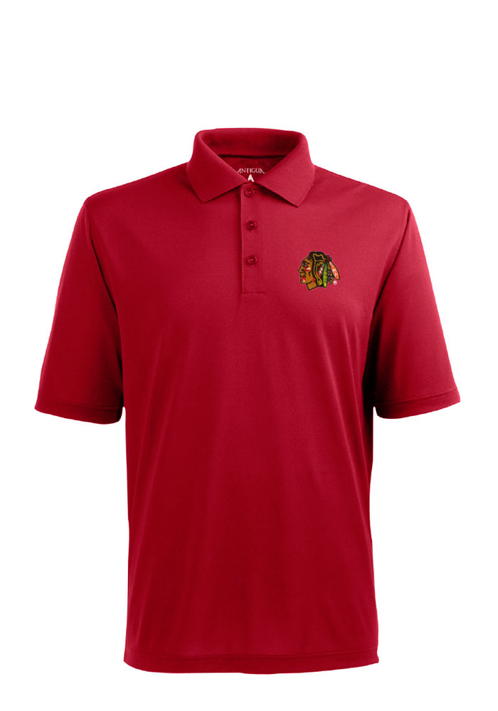 Antigua Chicago Blackhawks Mens Red Pique Short Sleeve Polo - Image 1