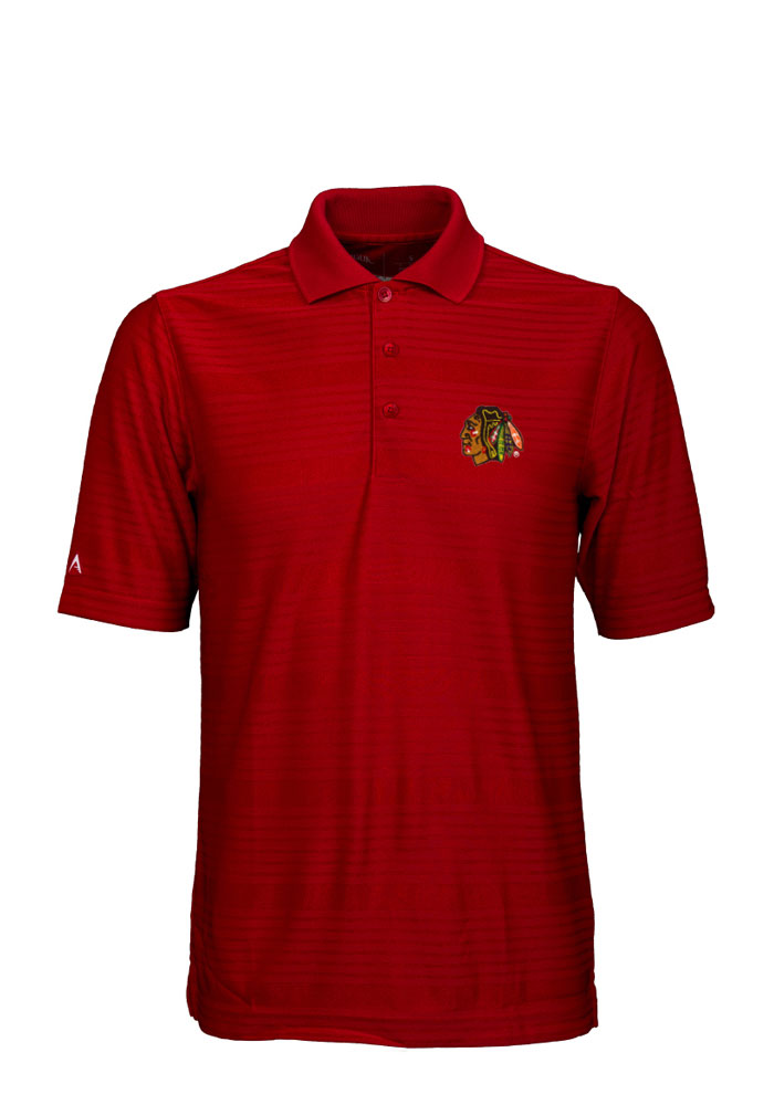 Antigua Chicago Blackhawks Mens Red Illusion Short Sleeve Polo - Image 1