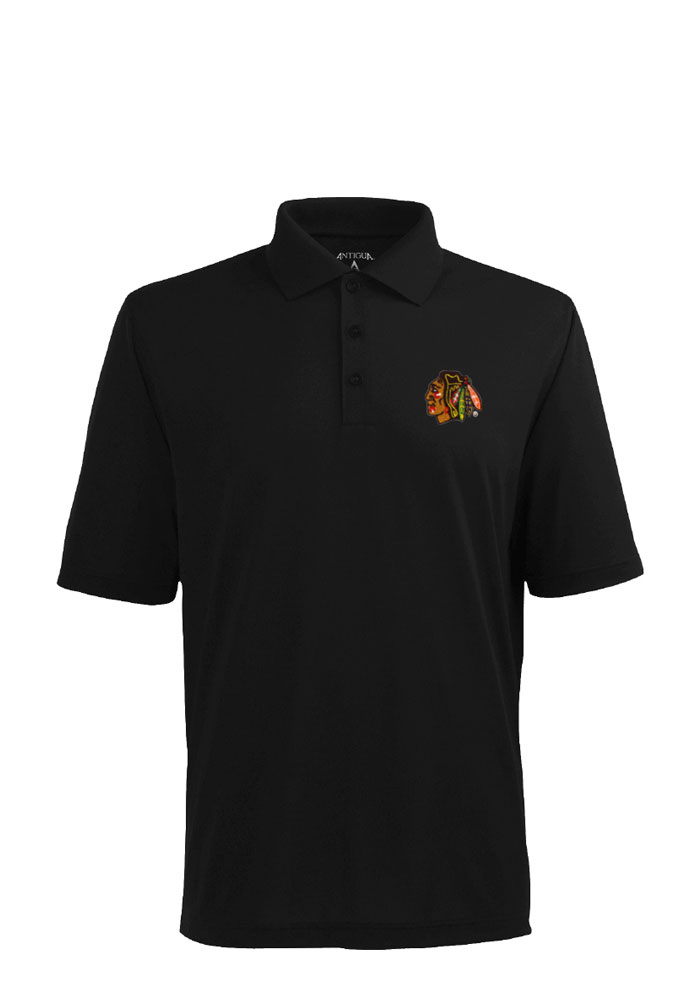 Antigua Chicago Blackhawks Mens Black Pique Short Sleeve Polo - Image 1