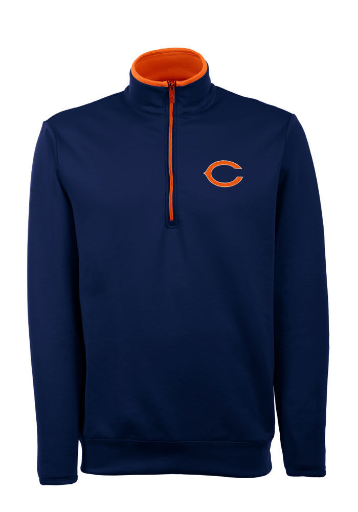 Antigua Chicago Bears Mens Navy Blue Leader Long Sleeve 1/4 Zip Pullover - Image 1