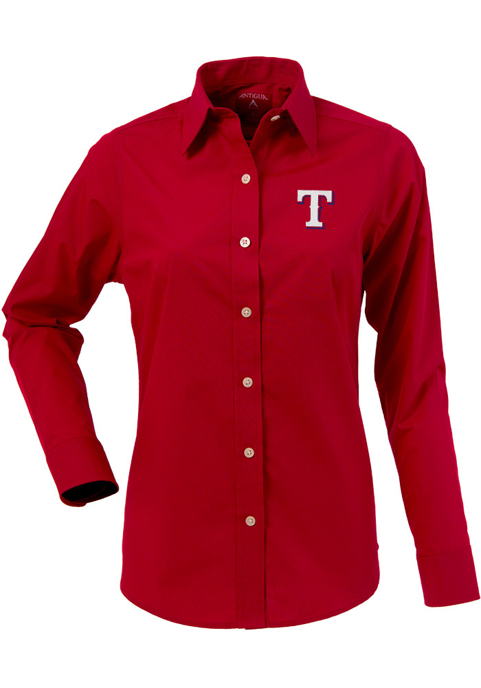 Antigua Texas Rangers Womens Dynasty Long Sleeve Red Dress Shirt - Image 1