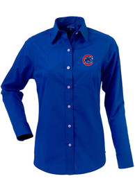 Antigua Chicago Cubs Womens Navy Blue Dynasty Dress Shirt