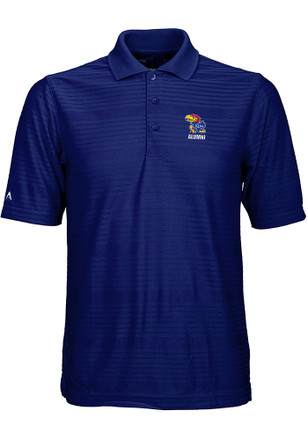 Antigua Kansas Jayhawks Mens Blue Illusion Short Sleeve Polo Shirt