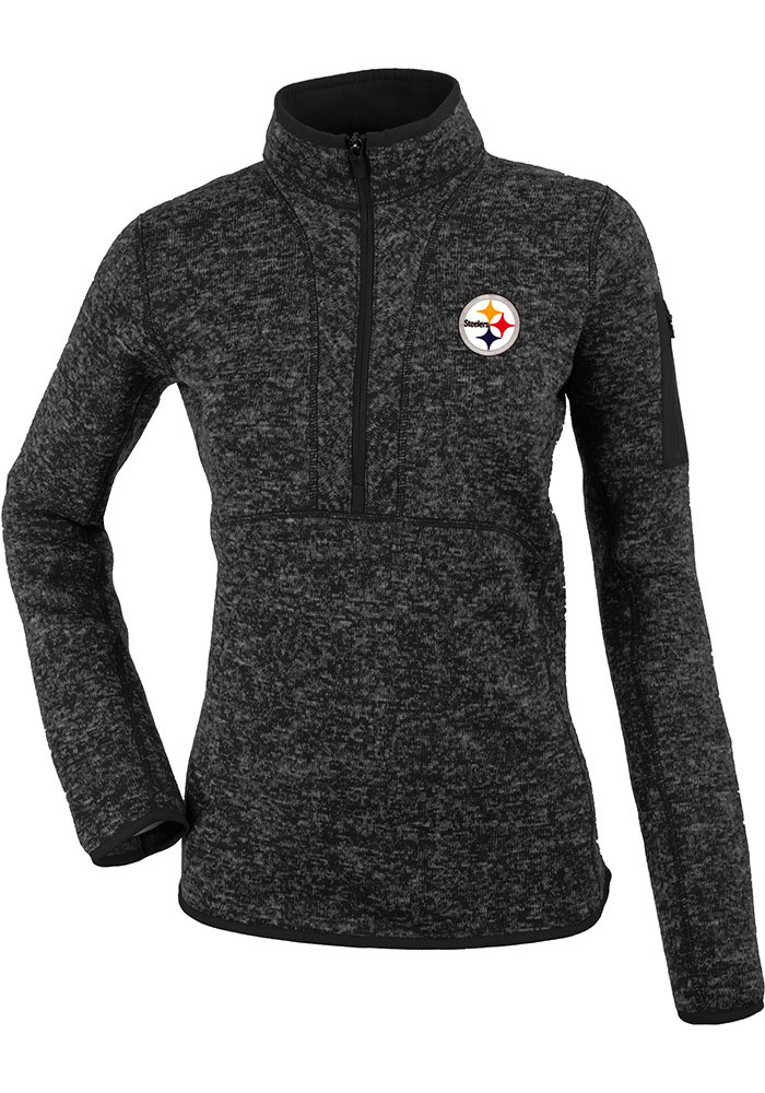Antigua Pittsburgh Steelers Womens Black Fortune 1/4 Zip Pullover, Black, 100% POLYESTER, Size XL