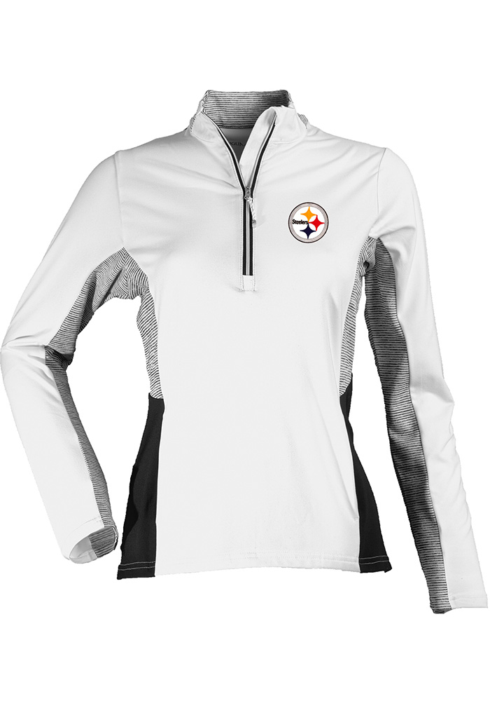Antigua Pitt Steelers Womens White Karma 1/4 Zip Pullover, White, 92% POLYESTER / 8% SPANDEX, Size L