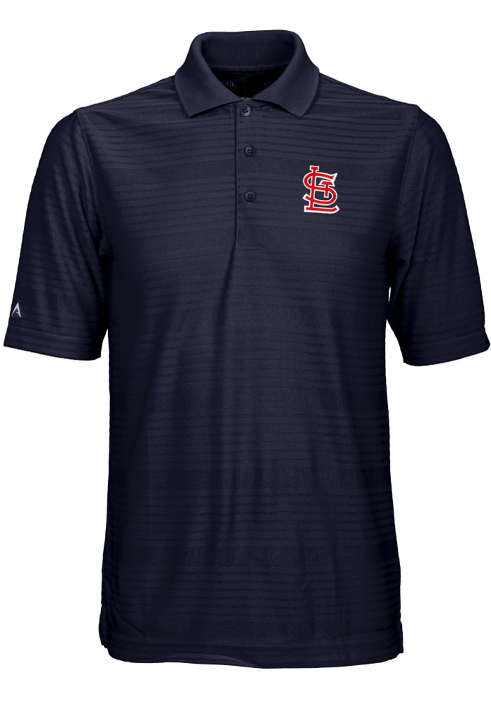 Antigua St Louis Cardinals Mens Navy Blue Illusion Short Sleeve Polo - Image 1