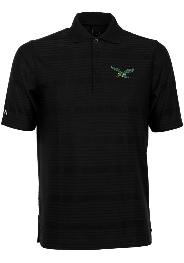 Antigua Philadelphia Eagles Mens Black Illusion Short Sleeve Polo - Image 1